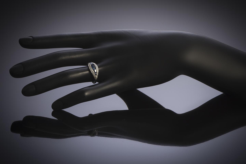 Bague Art Déco saphirs diamants-2