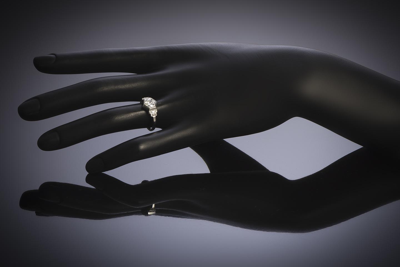 Bague Art Déco diamants (1,10 carat centre 0,90 carat)-3