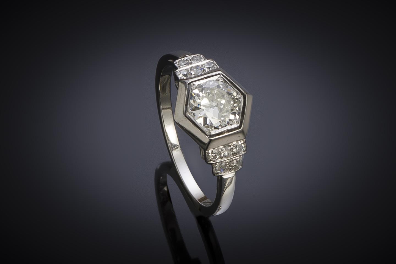 Bague Art Déco diamants (1,10 carat centre 0,90 carat)-1