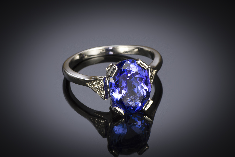 Bague tanzanite (3,30 carats) diamants-1