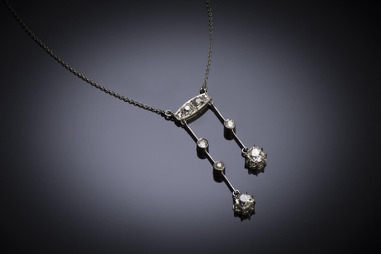 Collier dit négligé Art Déco diamants (1,60 carat)-1