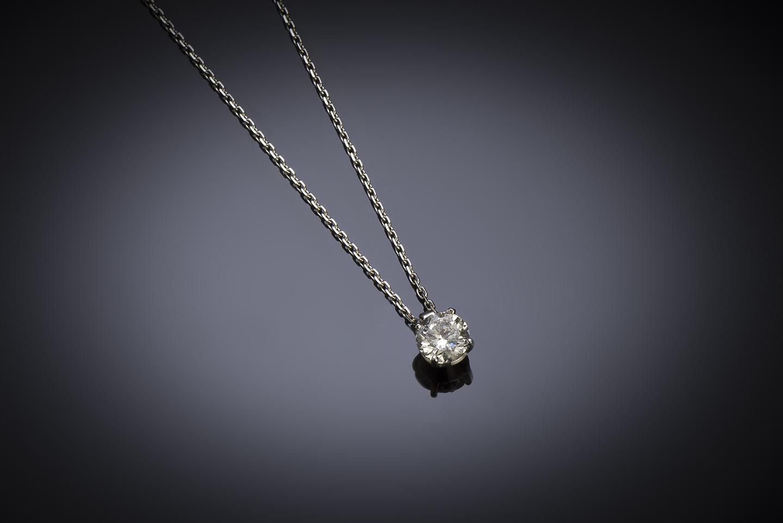 Pendentif et sa chaine diamant brillant (0,90 carat – certificat HRD)-1