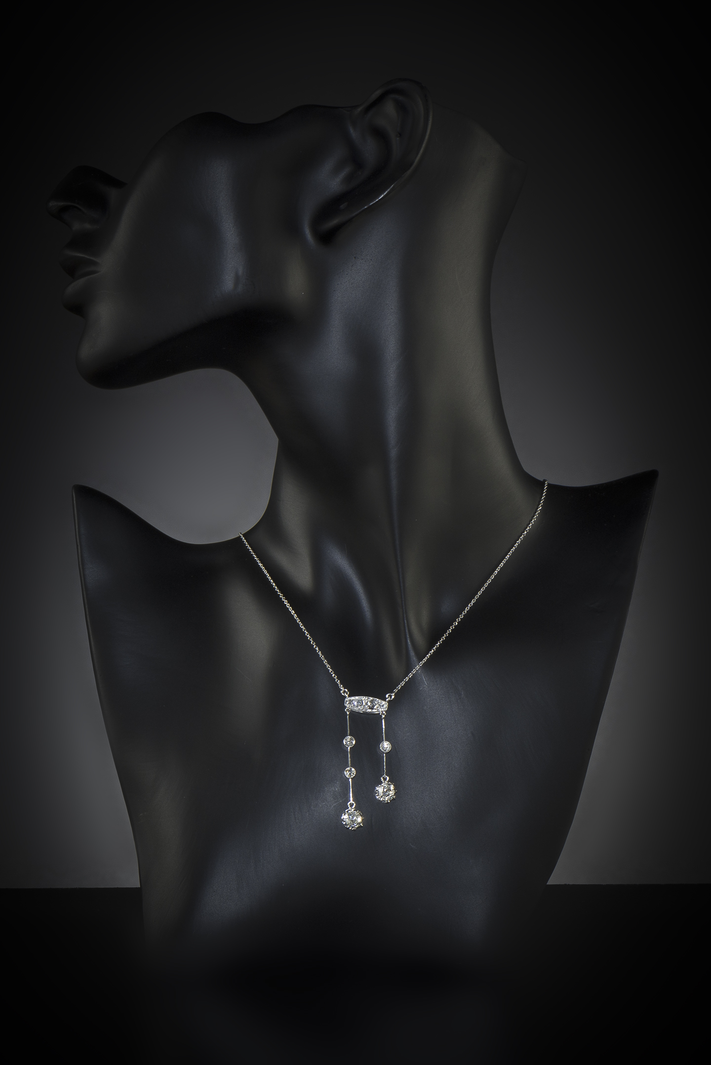 Collier dit négligé Art Déco diamants (1,60 carat)-2