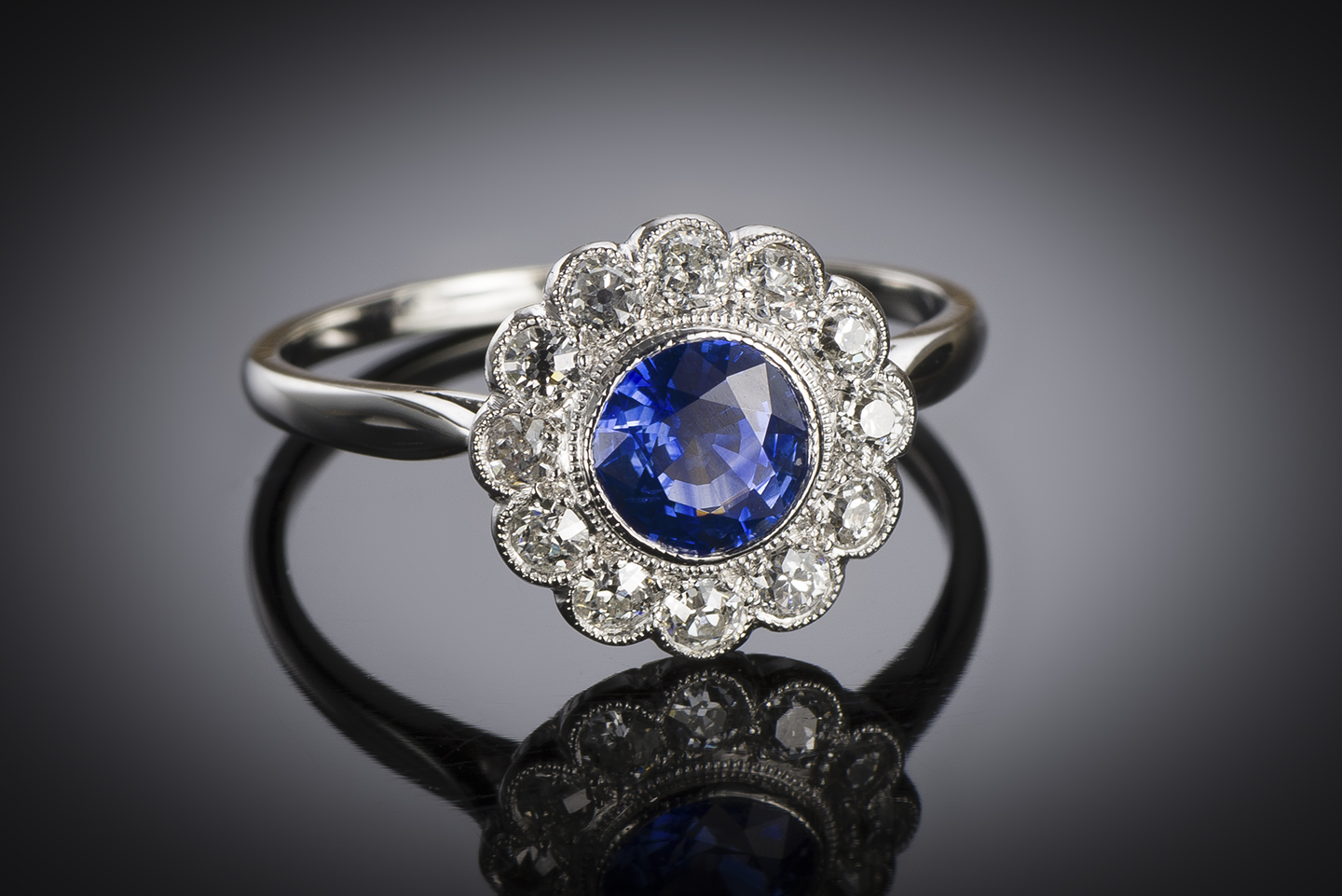 Bague saphir diamants vers 1930-1