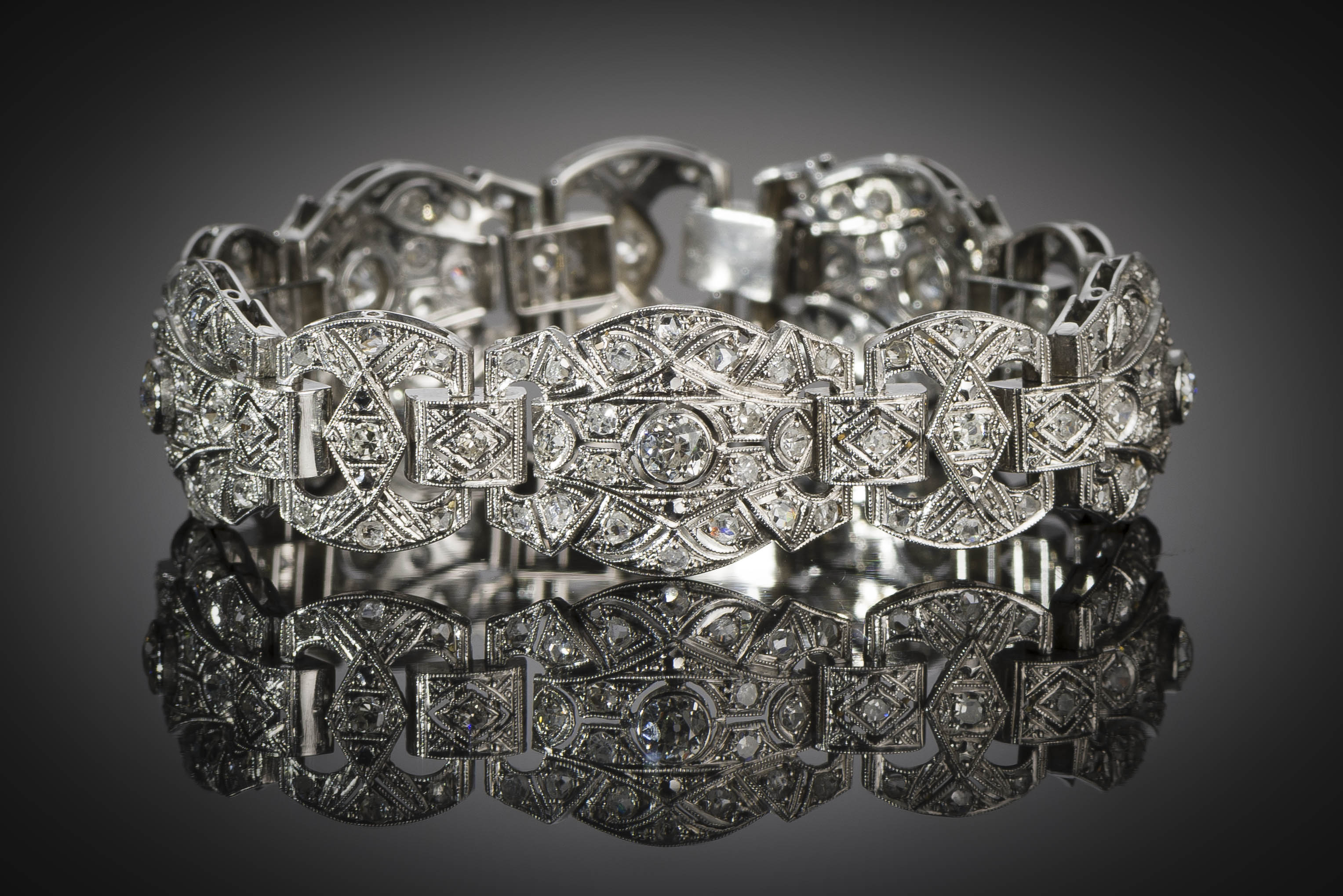 Bracelet Art Déco diamants platine-2