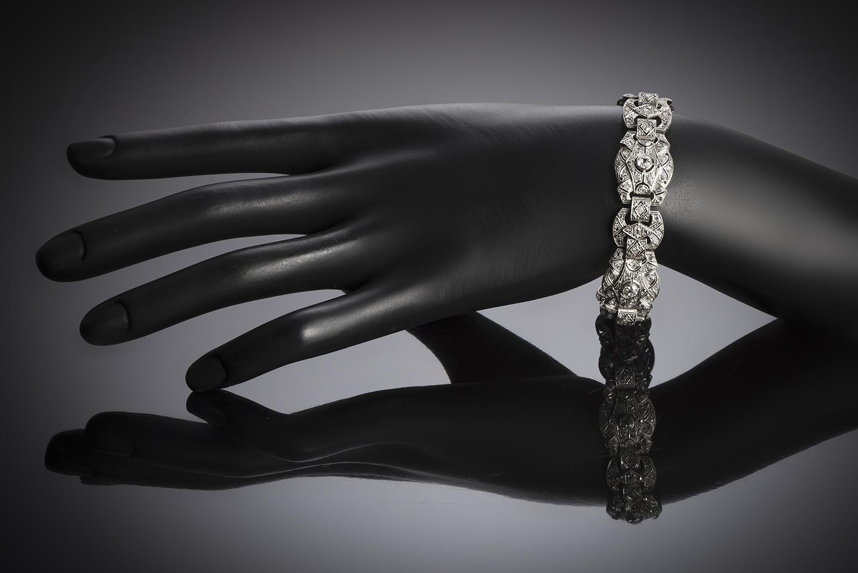 Bracelet Art Déco diamants platine-3