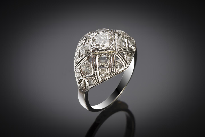 Bague boule diamants Art Déco-1