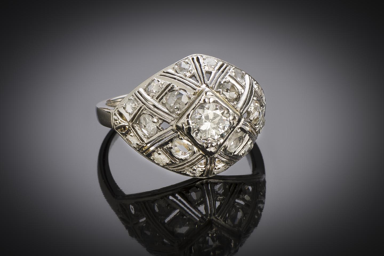 Bague boule diamants Art Déco-2