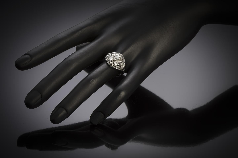 Bague boule diamants Art Déco-3