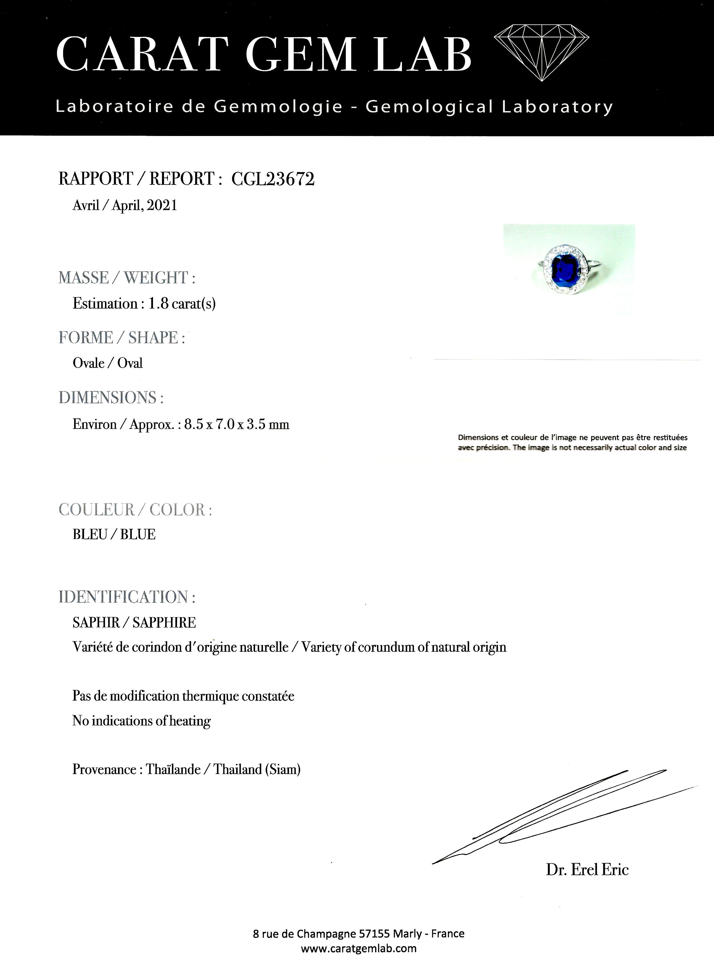 Bague Art Déco saphir naturel, non chauffé (certificat laboratoire) diamants-5