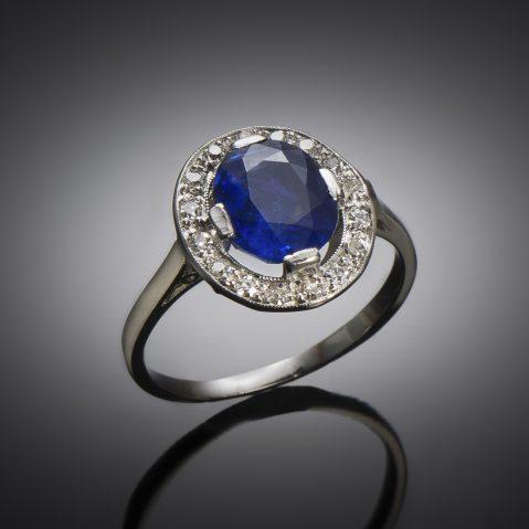 Bague Art Déco saphir naturel, non chauffé (certificat laboratoire) diamants