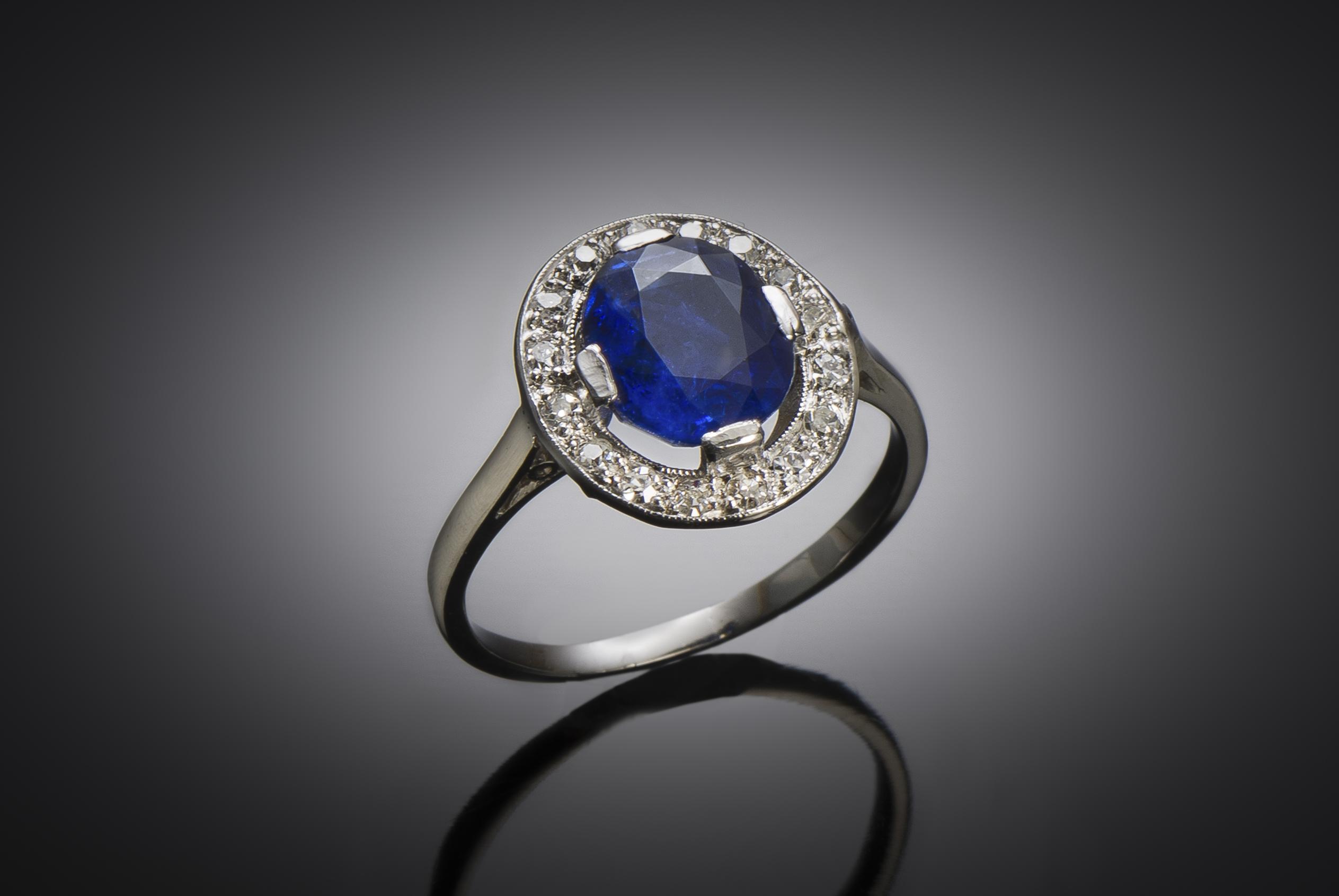 Bague Art Déco saphir naturel, non chauffé (certificat laboratoire) diamants-1