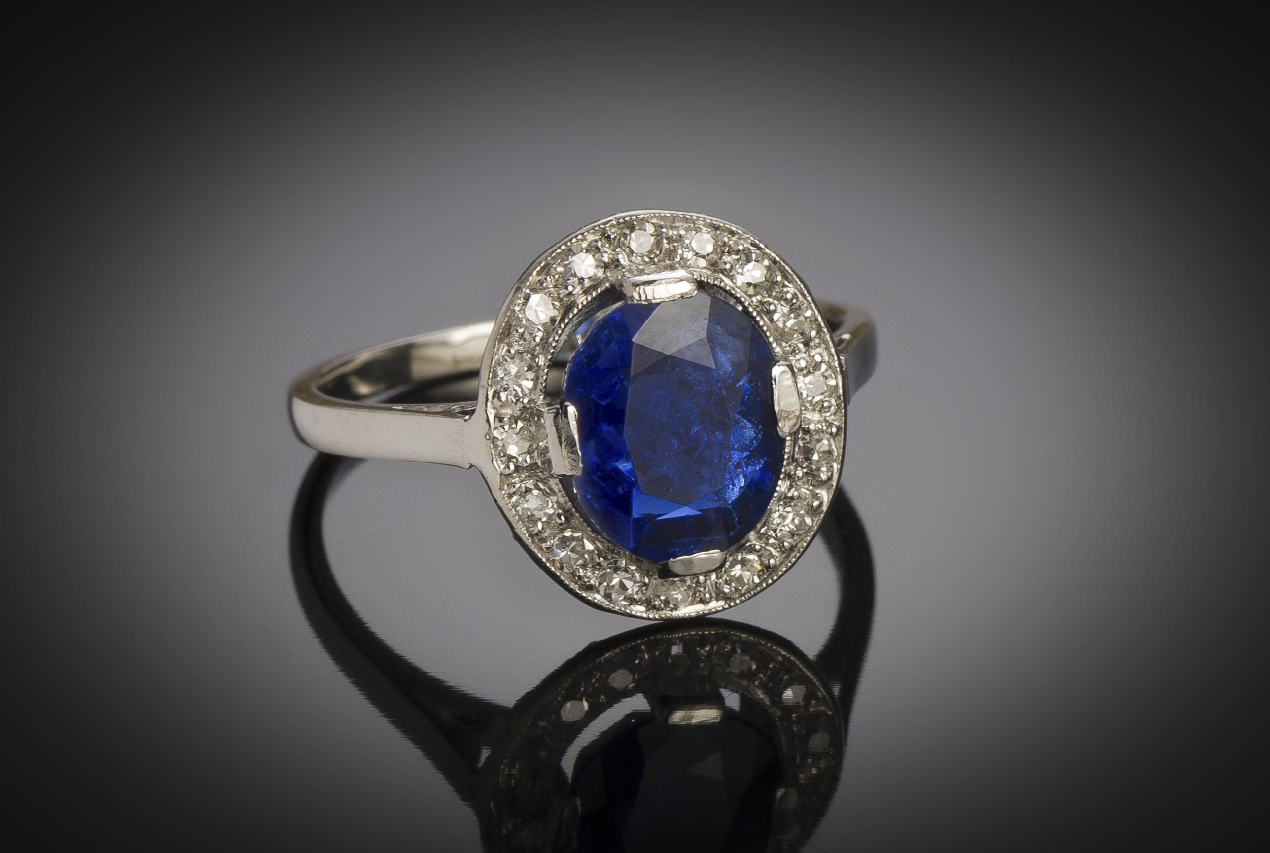 Bague Art Déco saphir naturel, non chauffé (certificat laboratoire) diamants-2