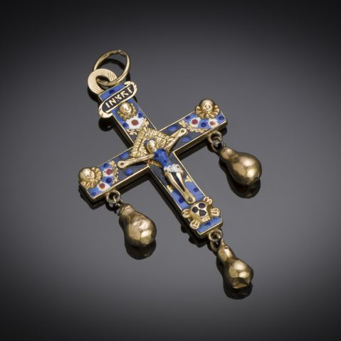 Croix émaillée à pampilles XIXe siècle (7,5 cm)