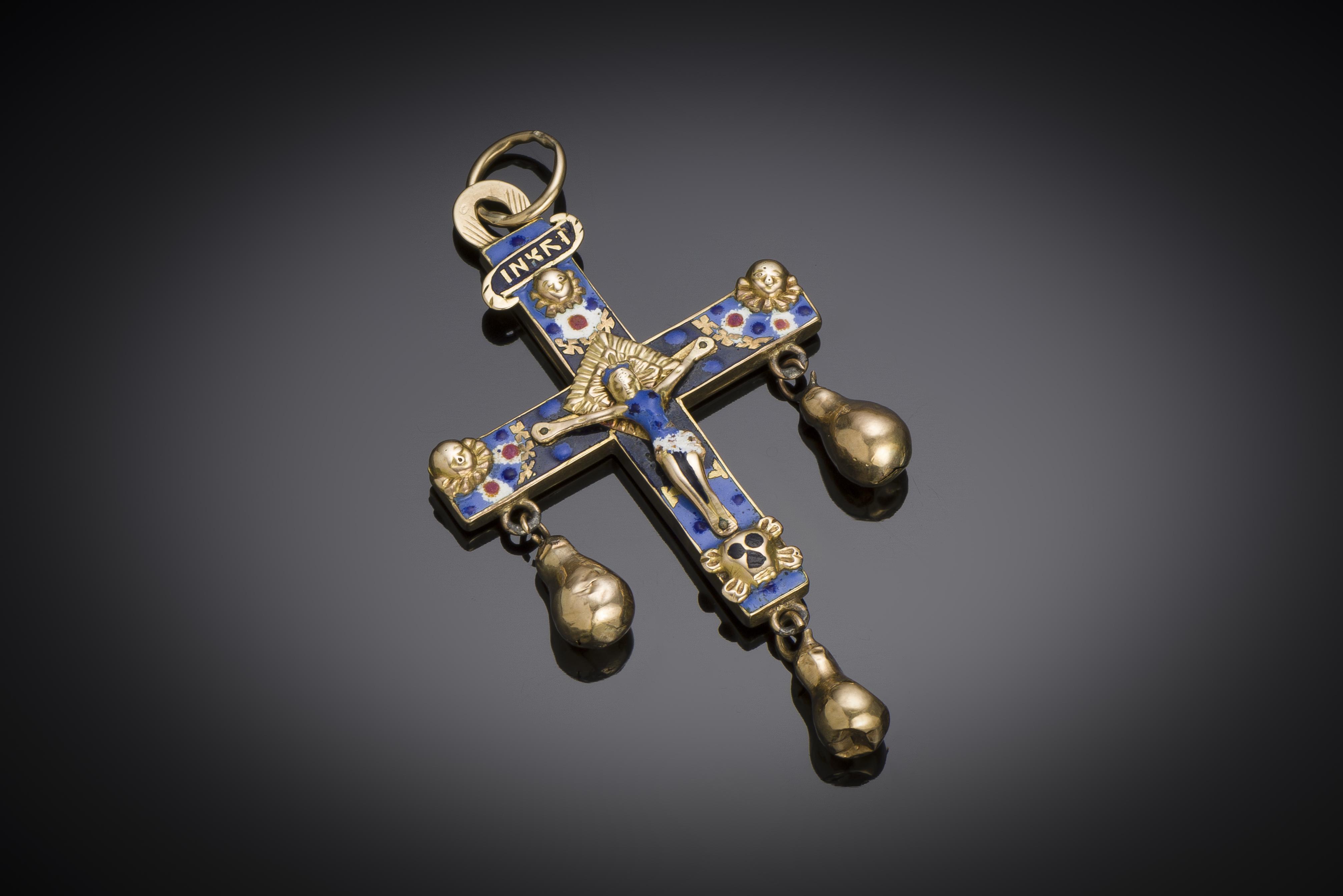 Croix émaillée à pampilles XIXe siècle (7,5 cm)-1