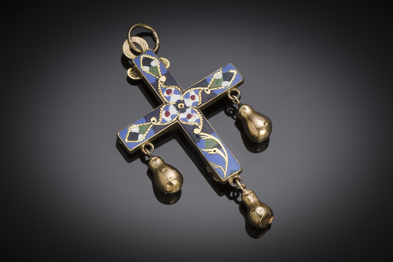 Croix émaillée à pampilles XIXe siècle (7,5 cm)-2