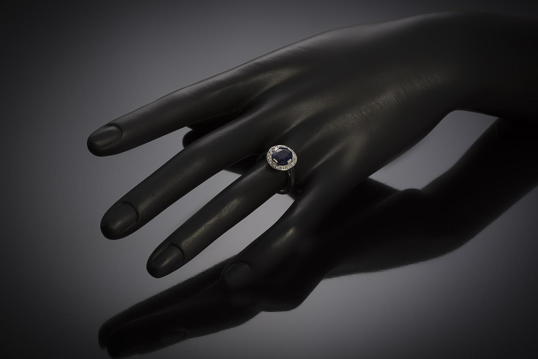 Bague Art Déco saphir naturel, non chauffé (certificat laboratoire) diamants-4