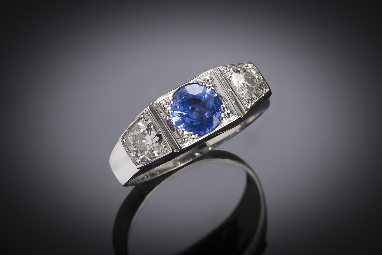 Bague trilogie saphir diamants Art Déco-1