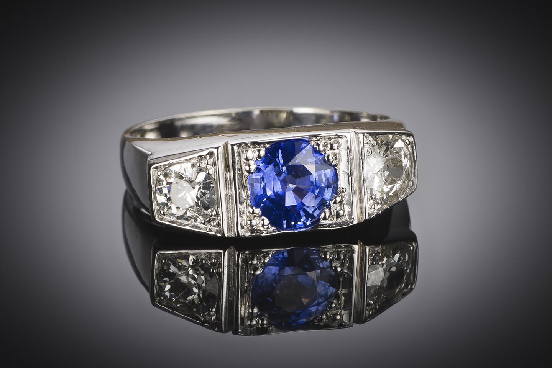 Bague trilogie saphir diamants Art Déco-2