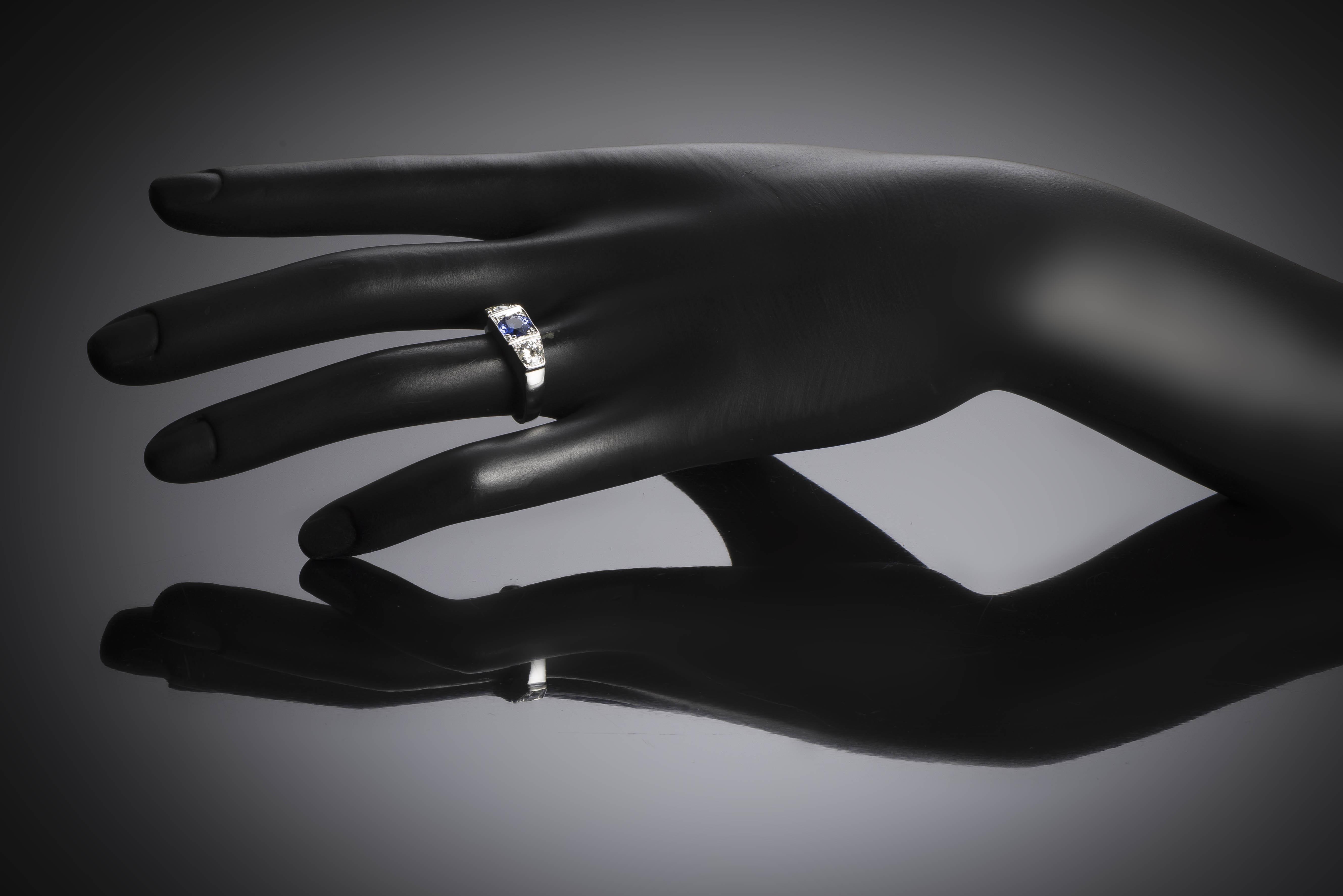 Bague trilogie saphir diamants Art Déco-3