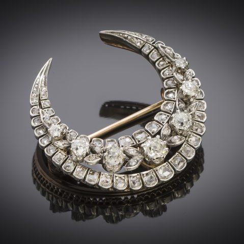 Broche croissant diamants XIXe siècle (3,50 cm x 3,30 cm)