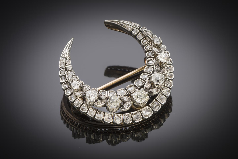 Broche croissant diamants XIXe siècle (3,50 cm x 3,30 cm)-1