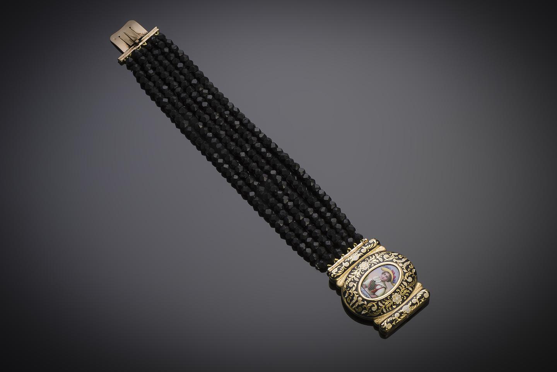 Bracelet XIXe siècle miniature entourée d'émail et jais taillé à facettes-2