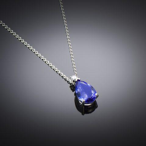 Pendentif et sa chaîne tanzanite diamant