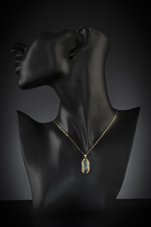 Pendentif et sa chaîne opale et diamants vers 1910 – 1920-2
