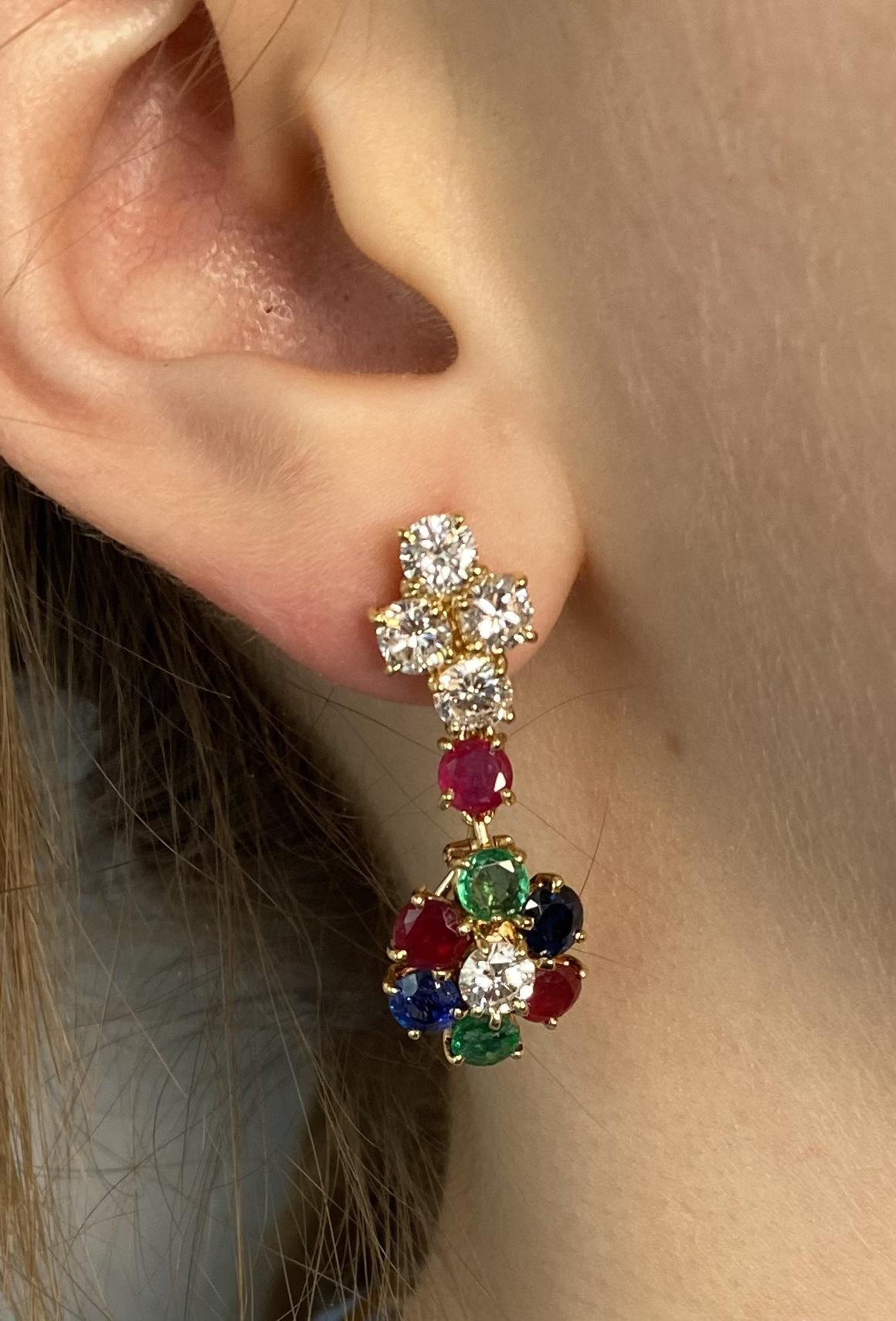 Boucles d'oreilles vintage à transformation diamants (2,80 carats), rubis, saphirs, émeraudes-3