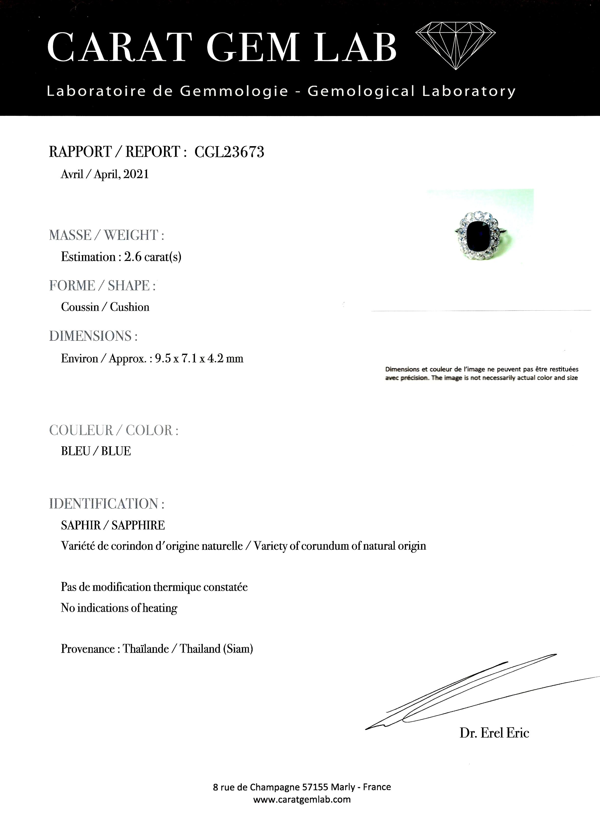 Bague Art Déco saphir naturel, 2,60 carats (certificat laboratoire) diamants-4