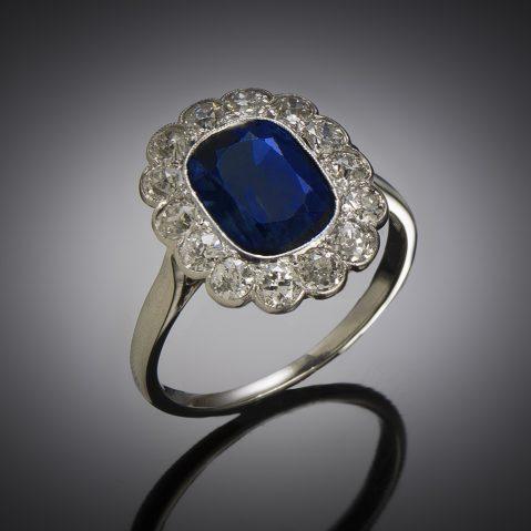 Bague Art Déco saphir naturel, 2,60 carats (certificat laboratoire) diamants