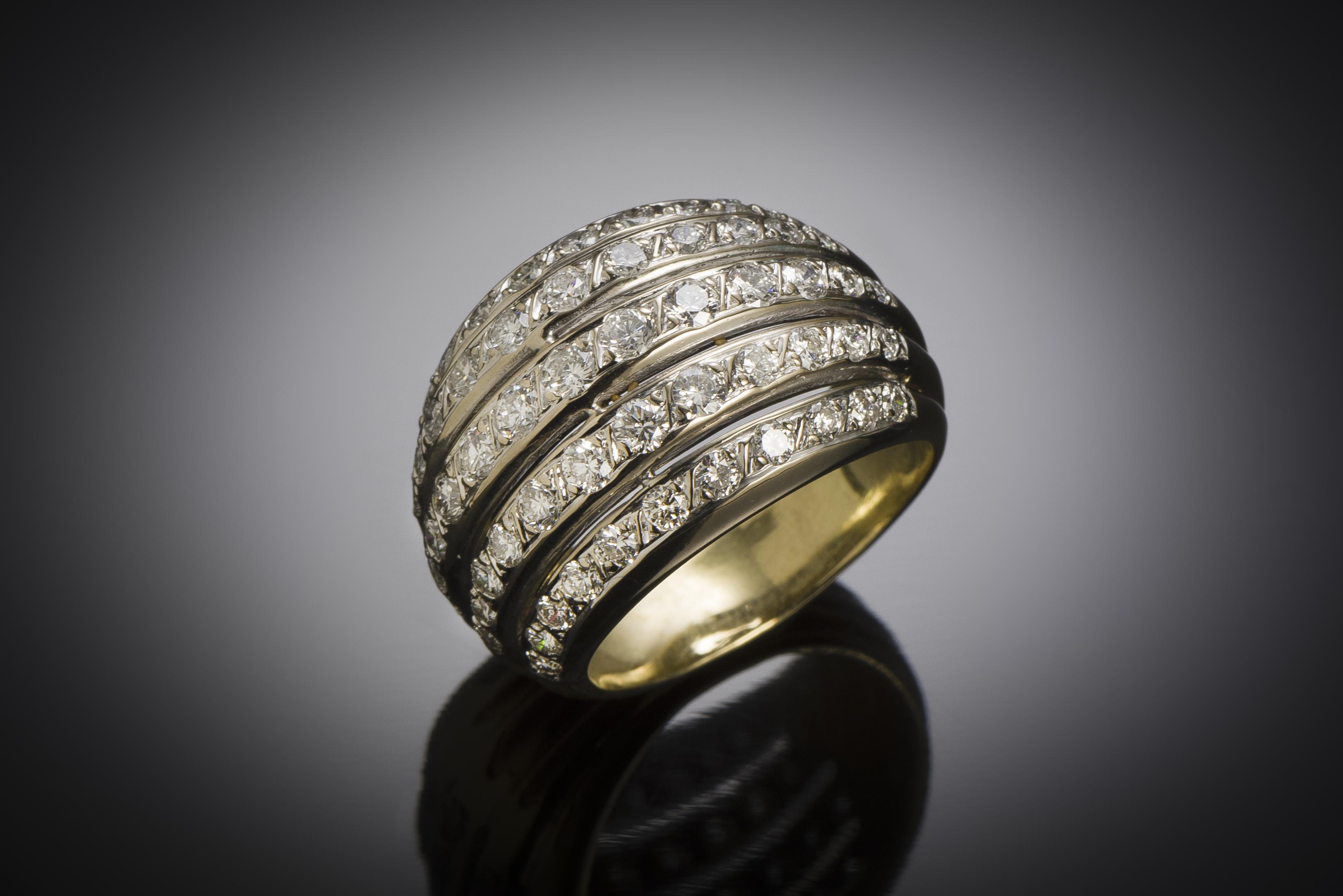 Bague boule vintage diamants (2,80 carats)-1