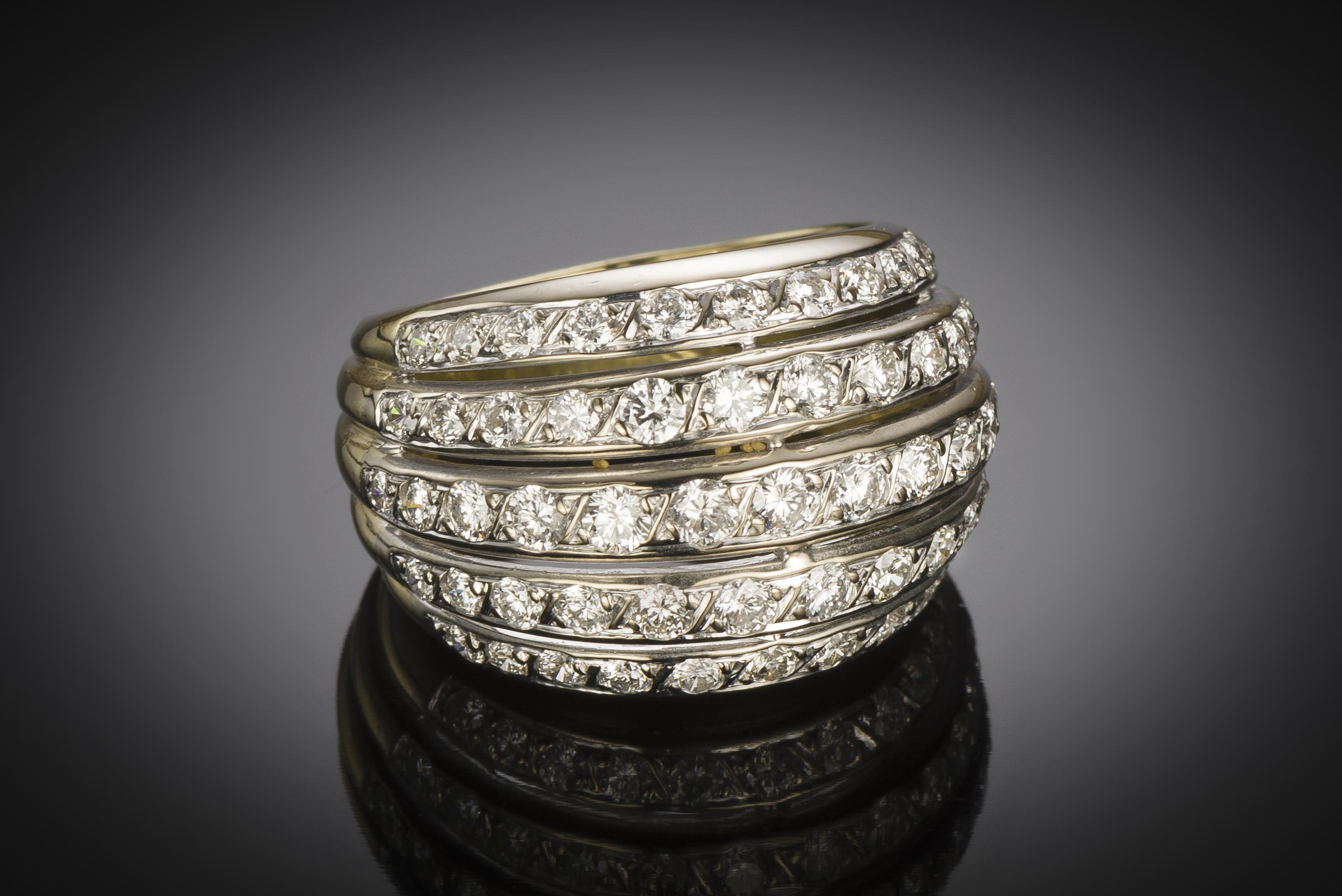 Bague boule vintage diamants (2,80 carats)-2