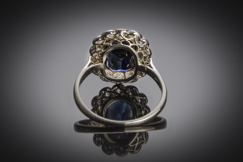 Bague Art Déco saphir naturel, 2,60 carats (certificat laboratoire) diamants-2