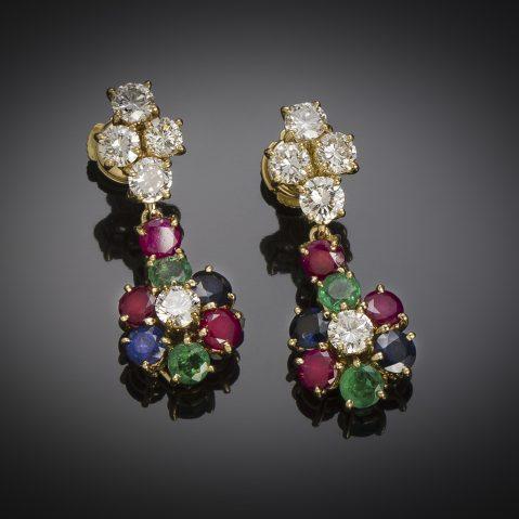 Boucles d'oreilles vintage à transformation diamants (2,80 carats), rubis, saphirs, émeraudes