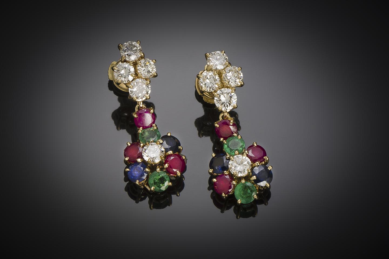 Boucles d'oreilles vintage à transformation diamants (2,80 carats), rubis, saphirs, émeraudes-1