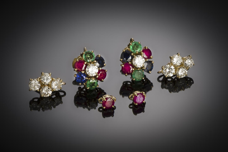 Boucles d'oreilles vintage à transformation diamants (2,80 carats), rubis, saphirs, émeraudes-2