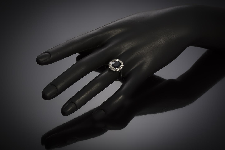 Bague Art Déco saphir naturel, 2,60 carats (certificat laboratoire) diamants-3