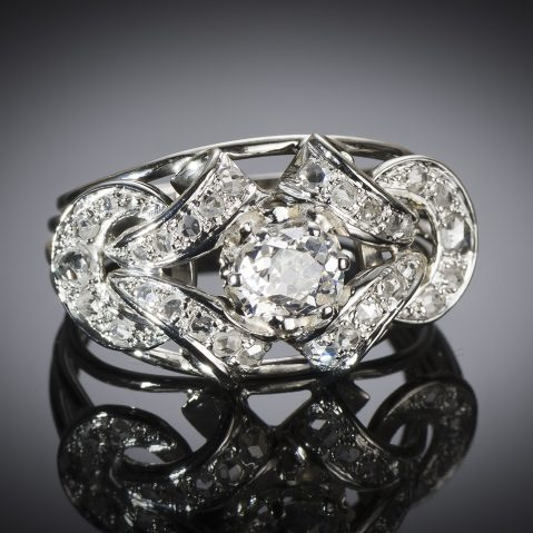 Bague diamants (1,80 carat principal 1,10 carat) vers 1950