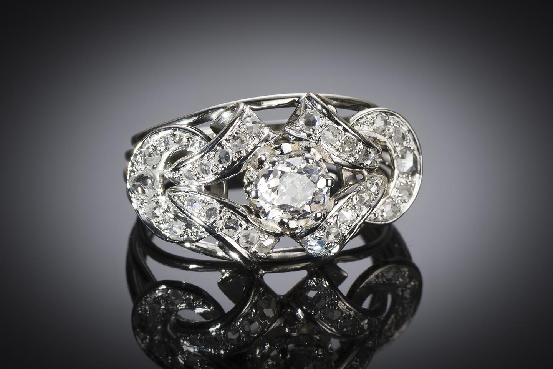 Bague diamants (1,80 carat principal 1,10 carat) vers 1950-1