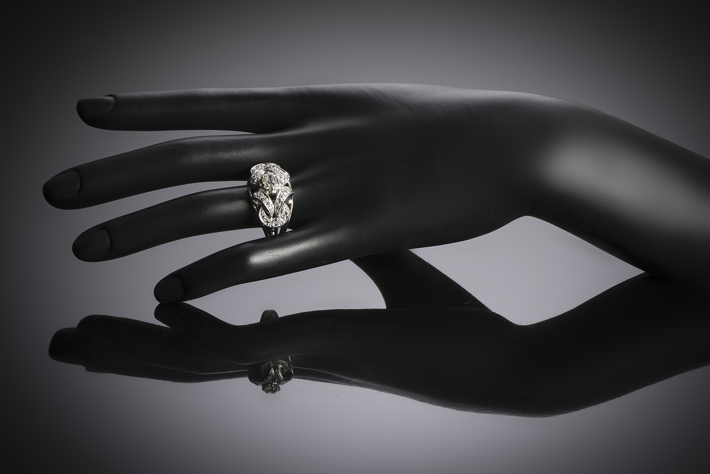 Bague diamants (1,80 carat principal 1,10 carat) vers 1950-2