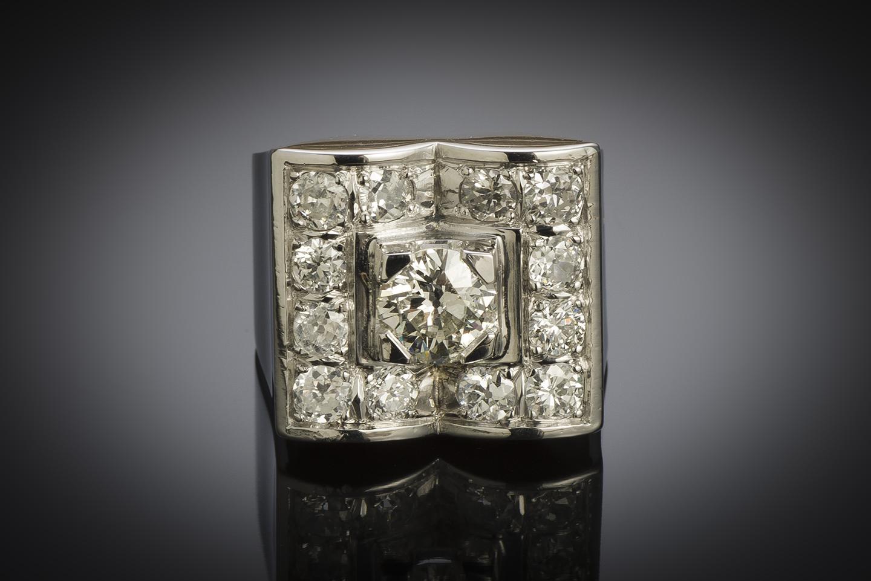 Bague moderniste vers 1935 diamants (2,80 carats centre 1,01 carat)-2