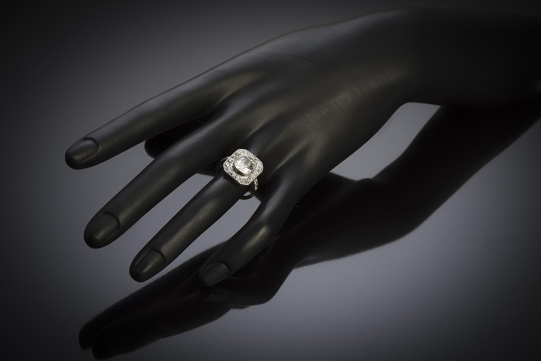 Bague diamants (3,30 carats, centre de 2,30 carats) vers 1920-4