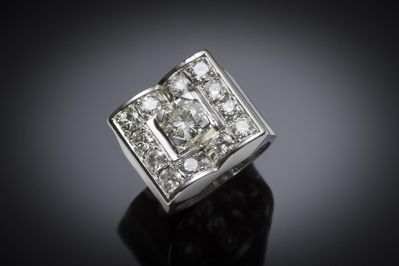 Bague moderniste vers 1935 diamants (2,80 carats centre 1,01 carat)-1
