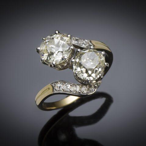 Bague « vous et moi » diamants (3,70 carats, principaux 1,70 et 1,60 carat) fin XIXe siècle