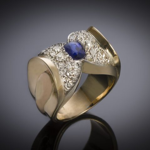 Bague vers 1940 saphir naturel (certificat laboratoire) diamants
