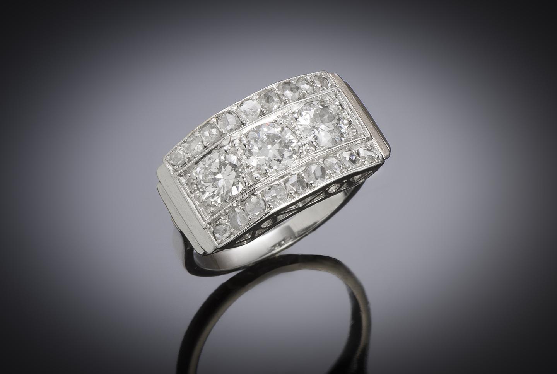 Bague vers 1935 diamants (1,50 carat)-1