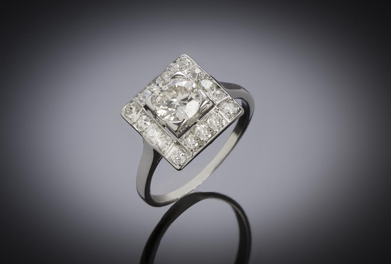 Bague diamants (1,30 carat) vers 1950-1