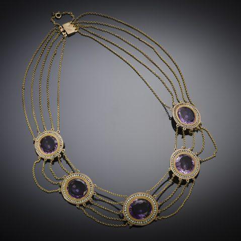 Collier améthystes et perles fines (première moitié du XIXe siècle)